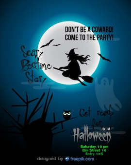 Halloween party flyer blue witch template