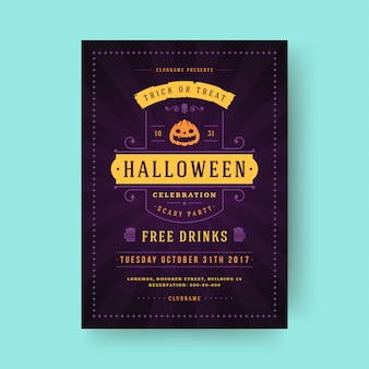 Halloween party flyer celebration night party poster or flyer template