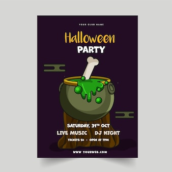 Halloween party flyer design with boiling cauldron on wood stump and event details.
