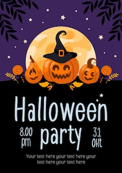 Хэллоуин флаер тыква jackolantern леденец луна для рекламного баннера плакат флаер
