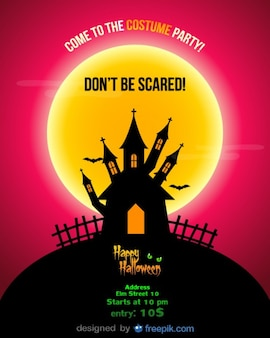 Halloween party flyer red night