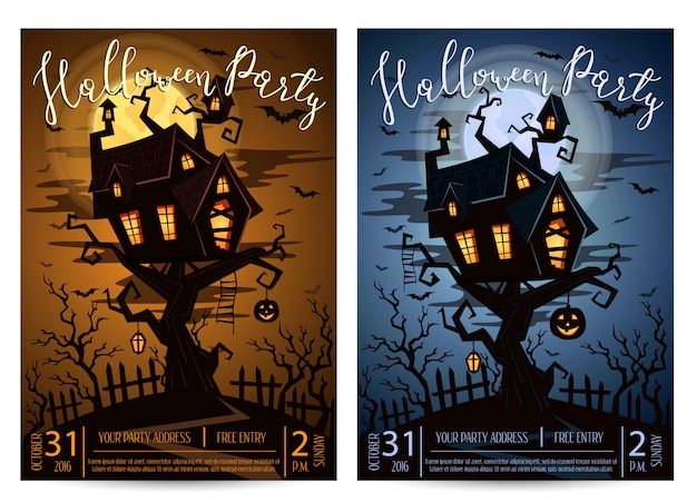 Halloween party flyer set with spooky castle