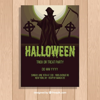 Halloween party flyer template in flat design