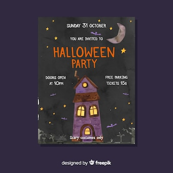 Halloween party flyer template in haunted house