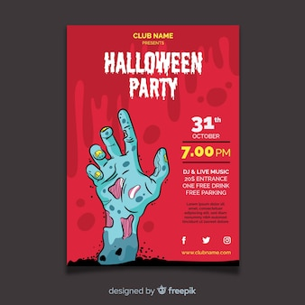 Halloween party flyer template with flat design