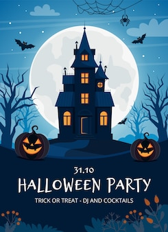 Halloween party flyer template with haunted house and pumpkins