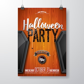 Halloween party flyer vector illustration with black coffin on orange vintage wood background. holiday design with spiders and calligraphy text for party invitation, greeting card, banner, poster.