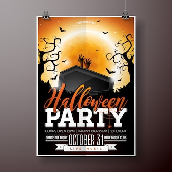 Halloween party flyer vector illustration with black coffin and zombie hand on orange moon sky background. holiday design with spiders and bats for party invitation, greeting card, banner, poster.