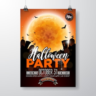 Halloween party flyer vector illustration with pumpkin and cemetery on orange sky background. holiday design with moon, spiders and bats for party invitation, greeting card, banner, poster.