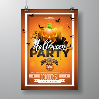 Halloween party flyer vector illustration with pumpkin and cemetery on orange sky background. holiday design with spiders and bats for party invitation, greeting card, banner, poster.
