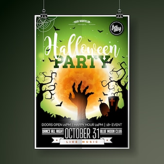 Halloween party flyer vector illustration with zombie hand on green moon sky background. holiday design with spiders and bats for party invitation, greeting card, banner, poster.