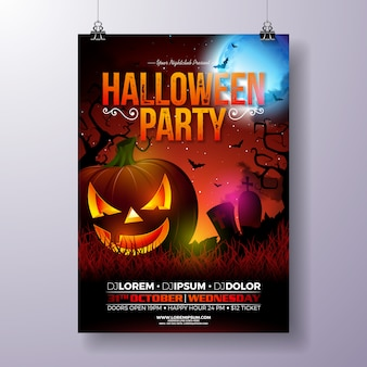 Halloween party flyer vector illustration