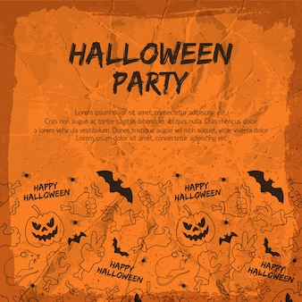 Halloween party flyer with animals lanterns from pumpkin hands and gestures