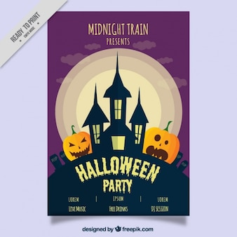 Halloween party flyer with a haunted house and pumpkin