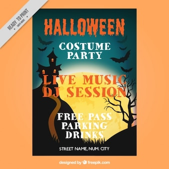 Halloween party flyer with haunted house