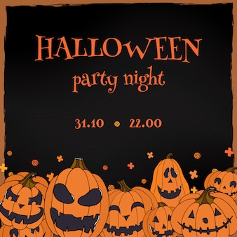 Halloween party flyer with jack o lanterns