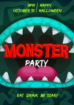 Halloween party flyer with monster mouth