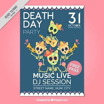 Halloween party flyer with nice mexican skeletons