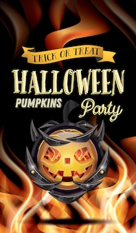Halloween party flyer with pumpkin and fire flames. vector illustration.