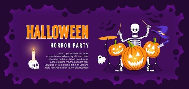Флаер для вечеринки на хэллоуин со скелетом барабанщика и тыквами плакат на хэллоуин