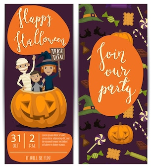 Halloween party flyers set with kids in costumes