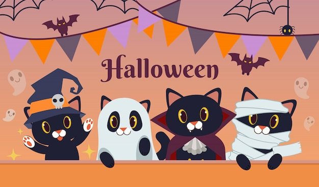 The halloween party for friend group of black cat wear fantasy costume. Premium Vector