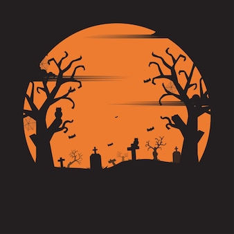 Halloween party. holiday night background. silhouette concept. illustration flat