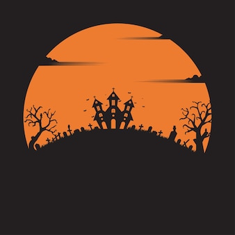 Halloween party. holiday night background. silhouette concept. pumpkin. illustration flat