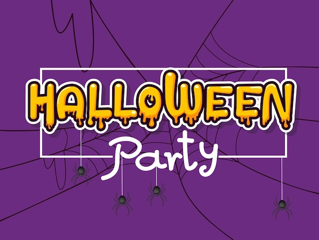 Halloween party horizontal banner with lettering yellow-orange adn spider web on a purple background.  vector illustration