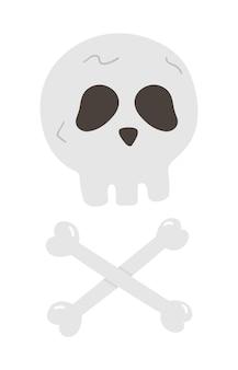 Иллюстрация вечеринки в честь хэллоуина с человеческим черепом и скрещенными костями. скелет вектора. страшный дизайн для осенней вечеринки samhain. день всех святых персонаж.