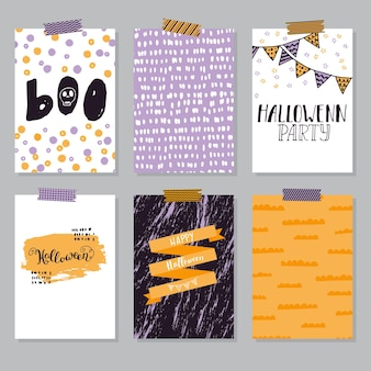 Шаблоны плакатов для приглашения и открытки на хэллоуин
