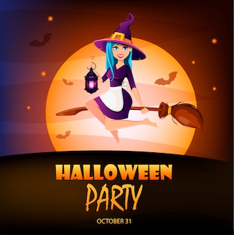Halloween party invitation. beautiful lady witch