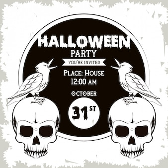 Halloween party invitation card in black and white