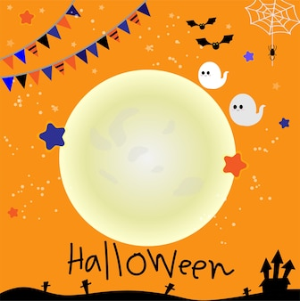 Halloween party invitation card in cute ghost charactor