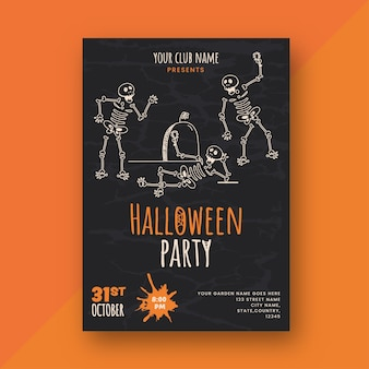 Halloween party invitation card or flyer design