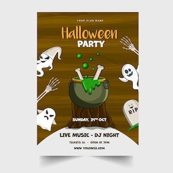 Halloween party invitation card with boiling cauldron on wood stump, cartoon ghosts and event details.