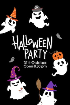 Halloween party invitation card with cute ghost and fancy hat