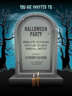 Halloween party invitation card with old gravestone at night with template text in cemetery