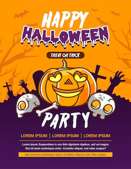 Halloween party invitation card with pumpkin, skull and creepy  illustration