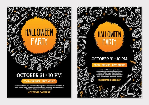 Halloween party invitation cards with magic symbols template