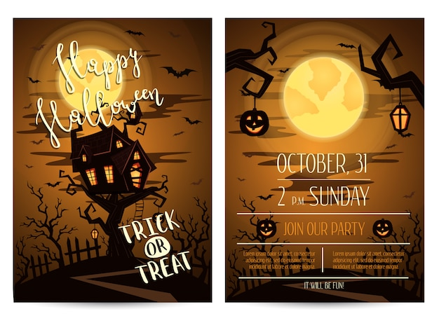 Halloween party invitation flyer with spooky castle