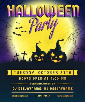 Halloween party invitation.  flyer.