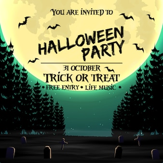 Halloween party invitation poster template with dark forest
