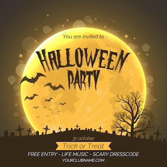 Halloween party invitation poster template with graveyard