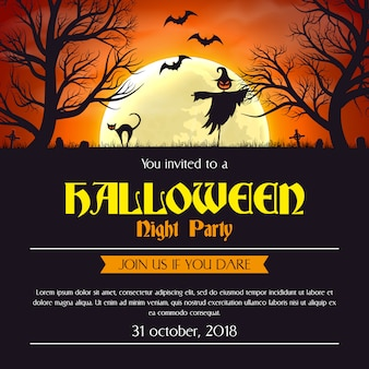 Halloween party invitation poster template.