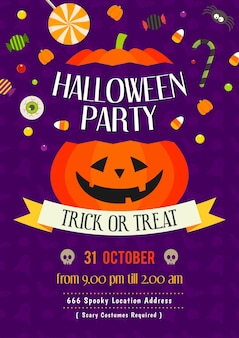 Halloween party invitation poster vector