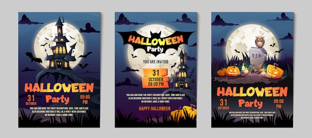 Halloween party invitation set. greeting cards haunted house, dark castle, tomb and full moon.