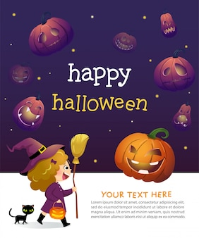 Halloween party invitation template card with little girl witch and black cat.