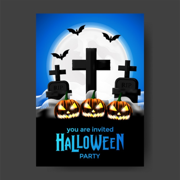 Halloween party invitation template with grave