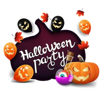 Halloween party, invitation white banner with a huge pumpkin carved in paper, halloween ballons, autumn leafs, pumpkin jack and witch's potion